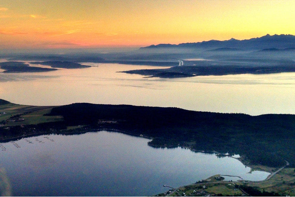 North of the San Juan Islands at Sunset