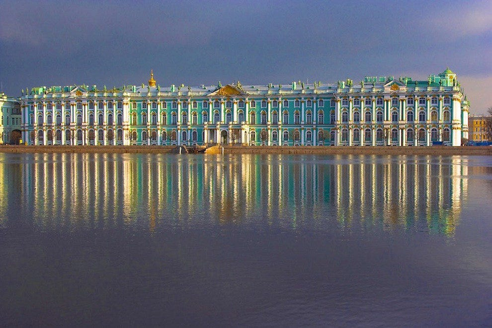 The Hermitage in St. Petersburg, Russia, has an astounding art collection that includes many Impressionist works.