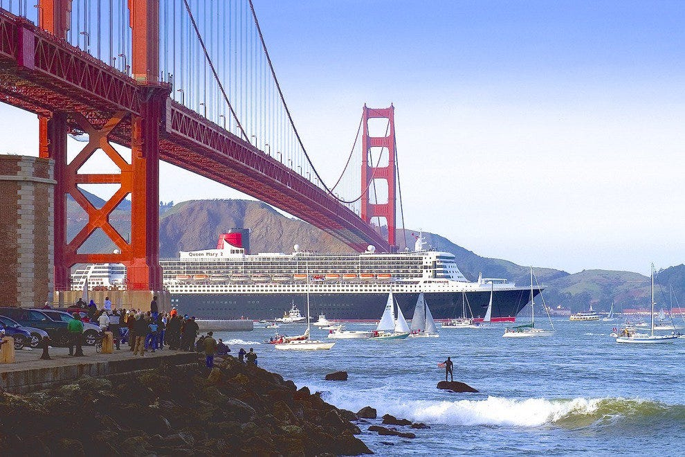 Sailing under San Francisco's Golden Gate Bridge is a thrilling way to arrive.