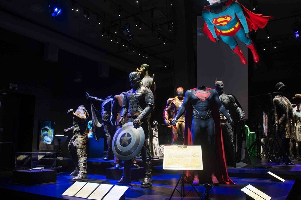 Superhero costumes are sure to delight at the Hollywood Costume Exhibition