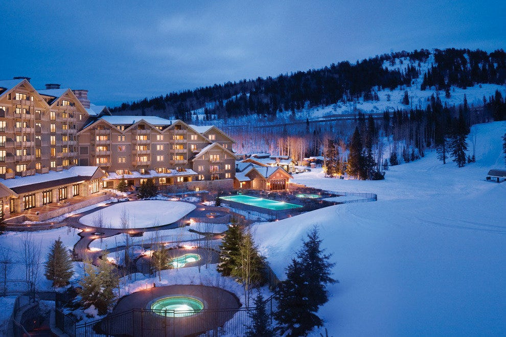 A swim in the heated winter pool is a great way to relax after skiing at Deer Valley Resort