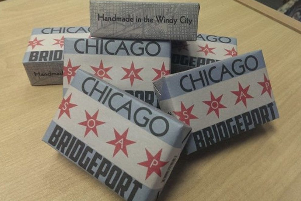 Hardscrabble, just blocks away from where the Chicago White Sox play, has a great selection of locally handmade soaps by Abbey Brown Soap Artisan, including their popular Bridgeport Soaps