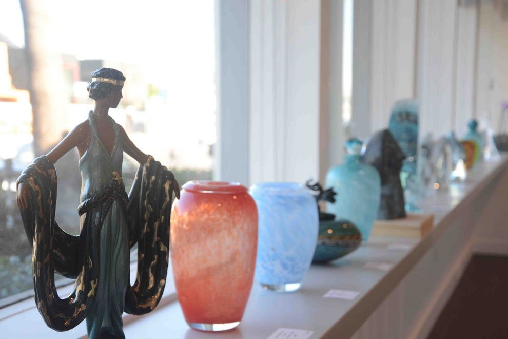 Some of the hand-blown glass on display at the Qart.com Gallery