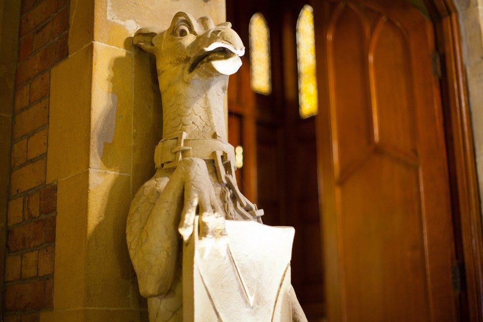 Gargoyles abound at Oakley Court. This one can be seen in The Rocky Horror Picture Show when Brad and Janet arrive at the castle.