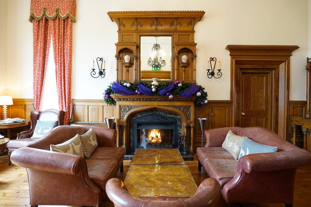 The original rooms of the manor are now sitting rooms and the bar.