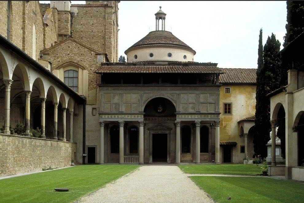 The entrance to the Pazzi Chapel
