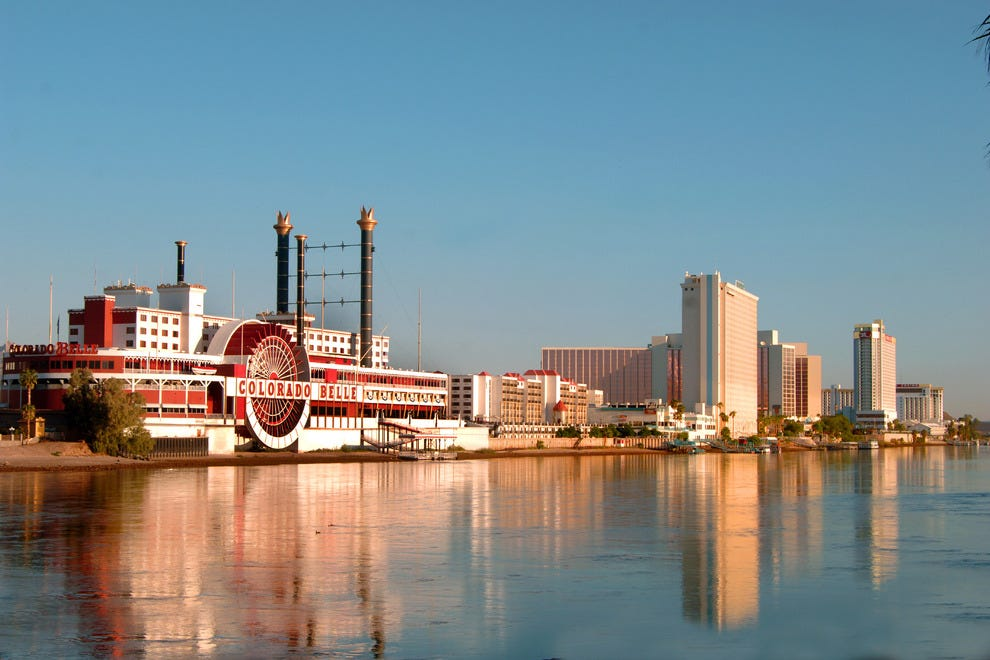 Laughlin has nine casino-resorts along the Colorado River, including the eye-catching Colorado Belle