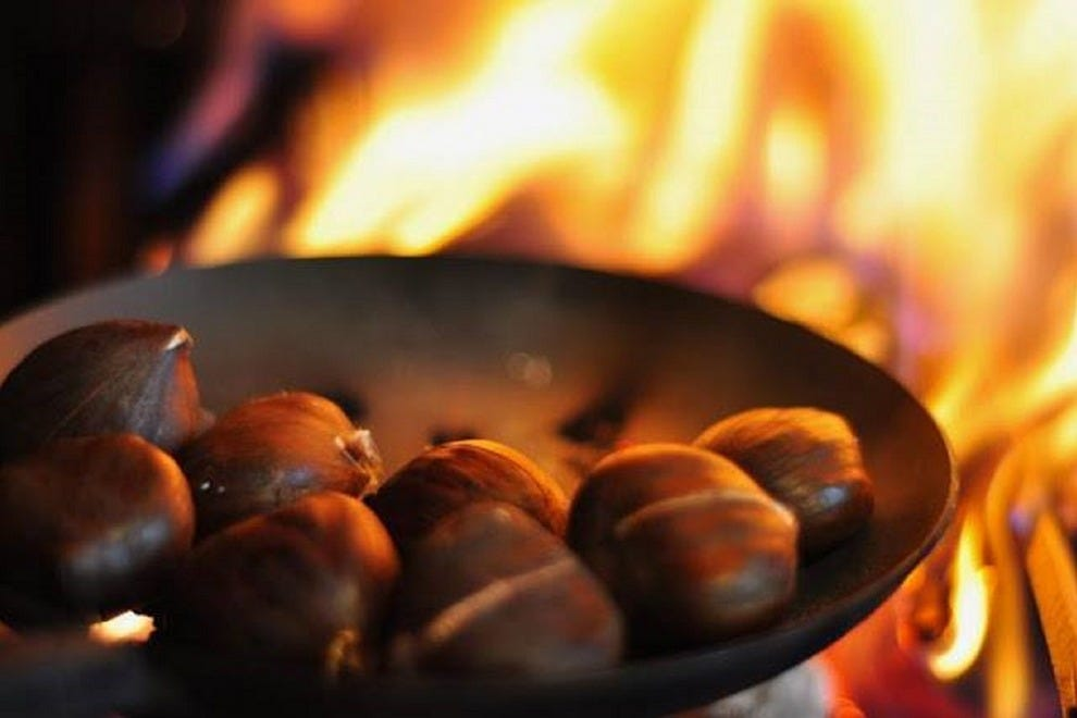 Chestnuts really do roast by an open fire at Poste in Washington, D.C.