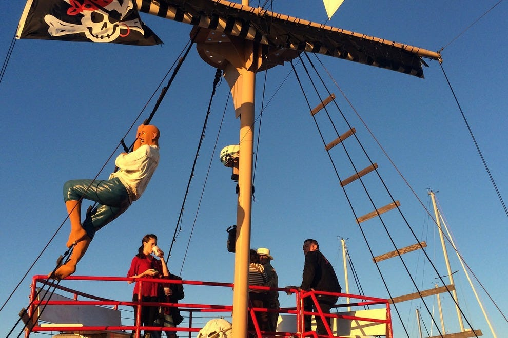 The top deck of this pirate ship offers spectacular views of the coastline