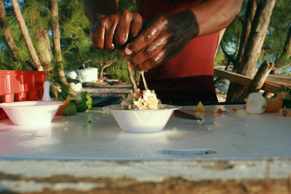 Conch salad made fresh on the beach at Exuma's Chat N Chill.