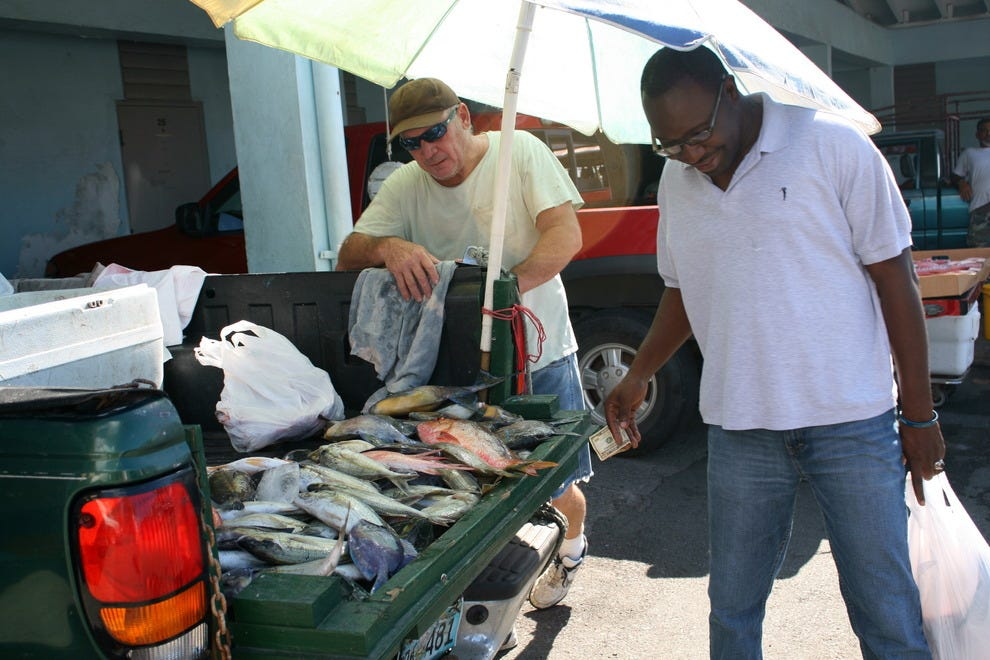 Selling the day's catch out of the back of a truck in St. Thomas' Frenchtown.