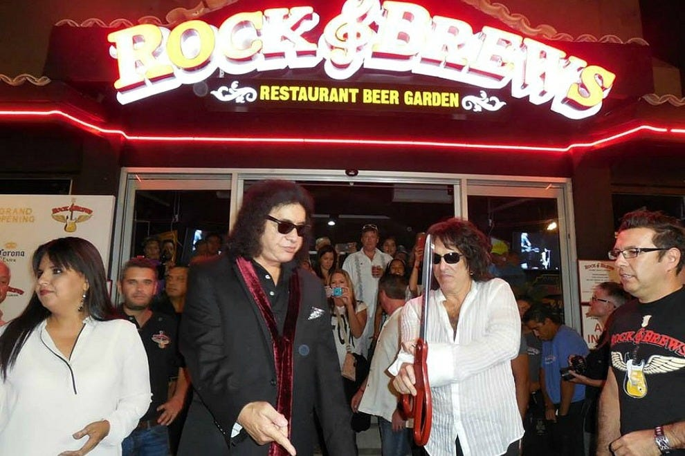 KISS stars Paul Stanley and Gene Simmons celebrate the opening of their new Rock & Brews in Cabo San Lucas