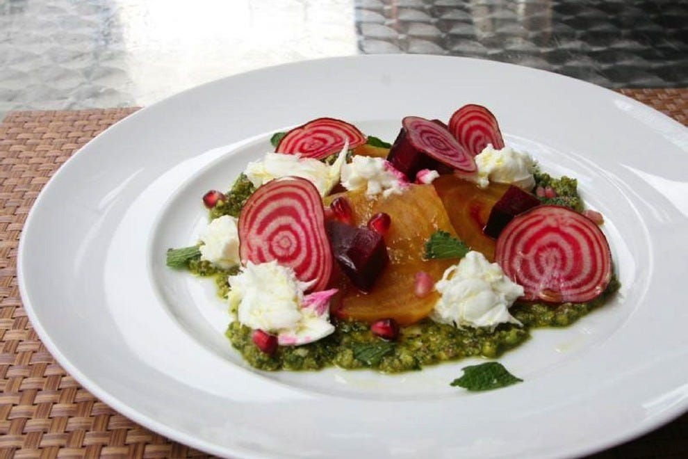 Caprese doesn't just come in tomato form. This beet variety is a great way to start your meal