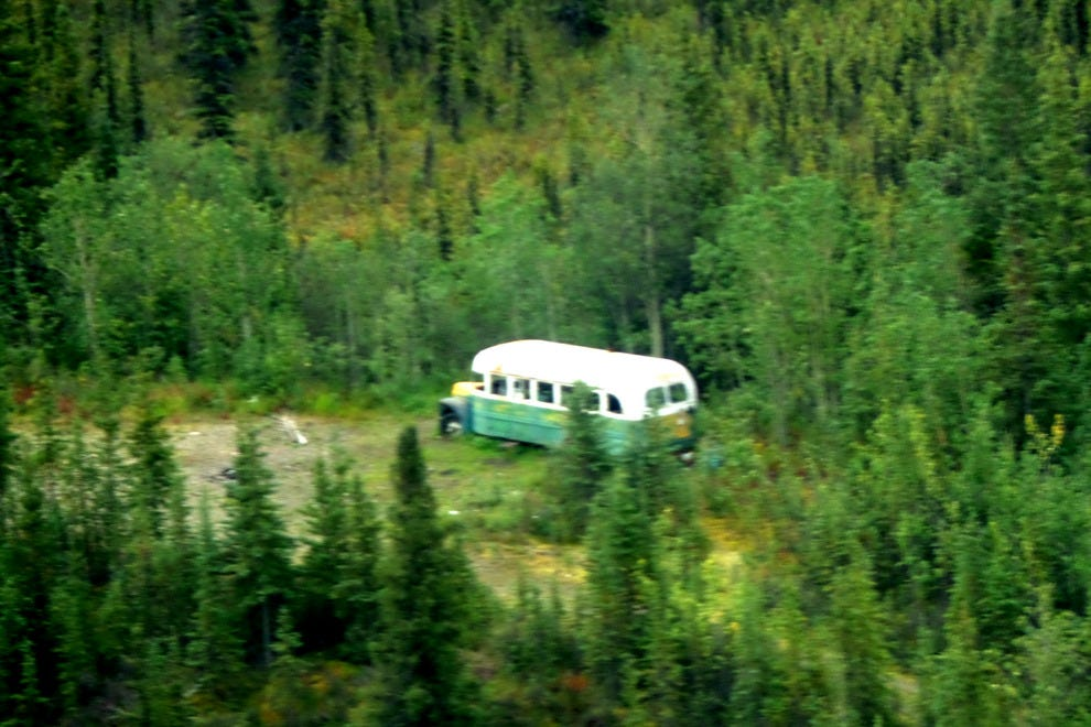 "Flying over Alaska's ""magic bus"" from the book ""Into the Wild"""