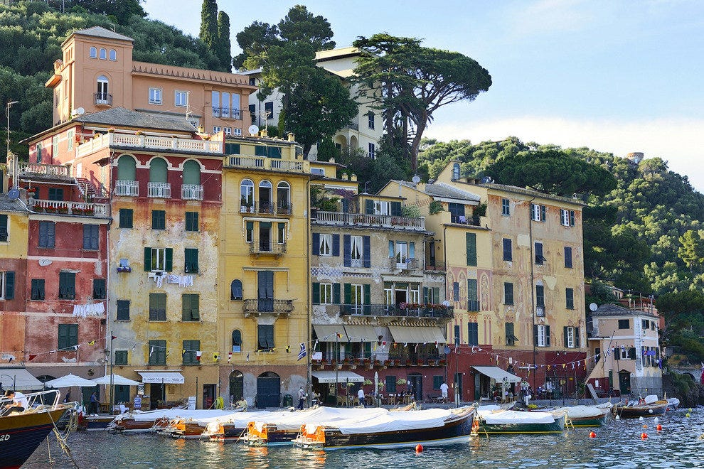 No need to be rich or famous to enjoy the charms of Portofino, a small town on the Italian Riviera.