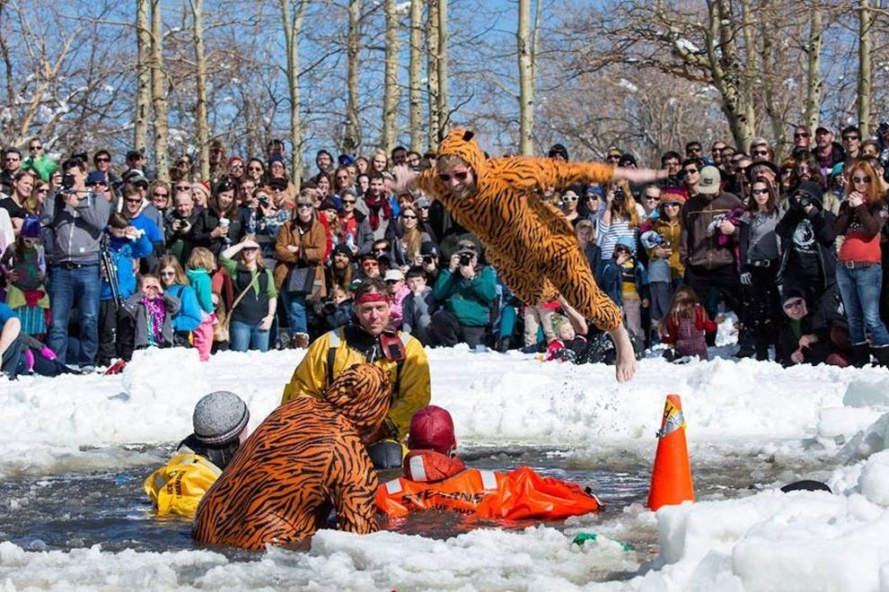 Polar-plunging maniacs at Frozen Dead Guy Days