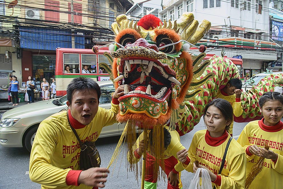Chinese dragon parade in Bangkok