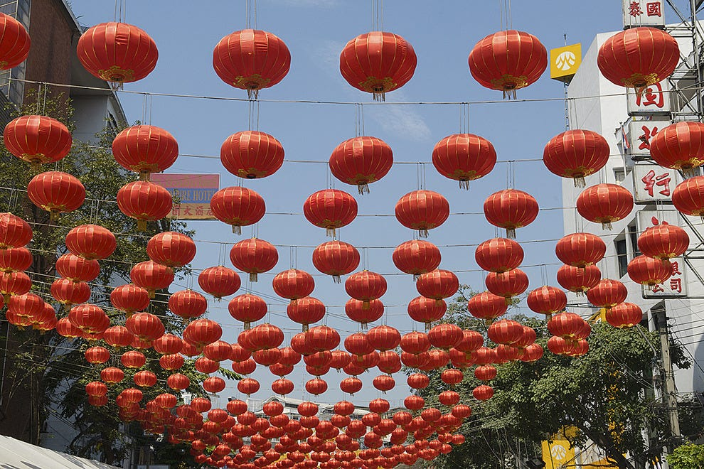 Lanterns hang during Chinese New Year