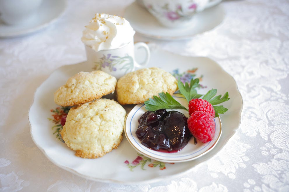 Enjoy fresh, homemade scones and lemon custard at Ashes Boutique and Tea Garden