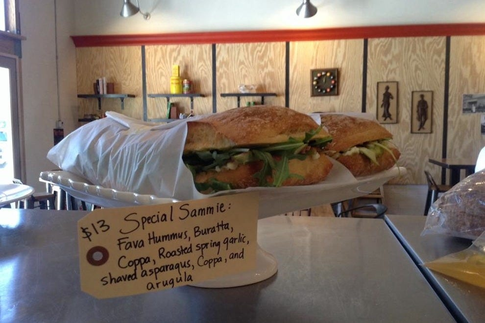 Check out Industrial Eats' changing sandwich of the day, on display at the counter