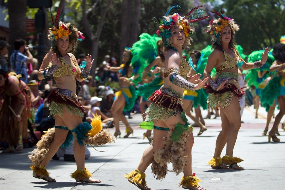 Costumed dancers in the Santa Barbara Summer Solstice Celebration parade steal the show