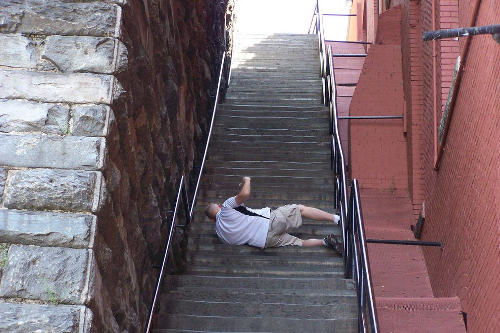 Falling down the Georgetown stairs
