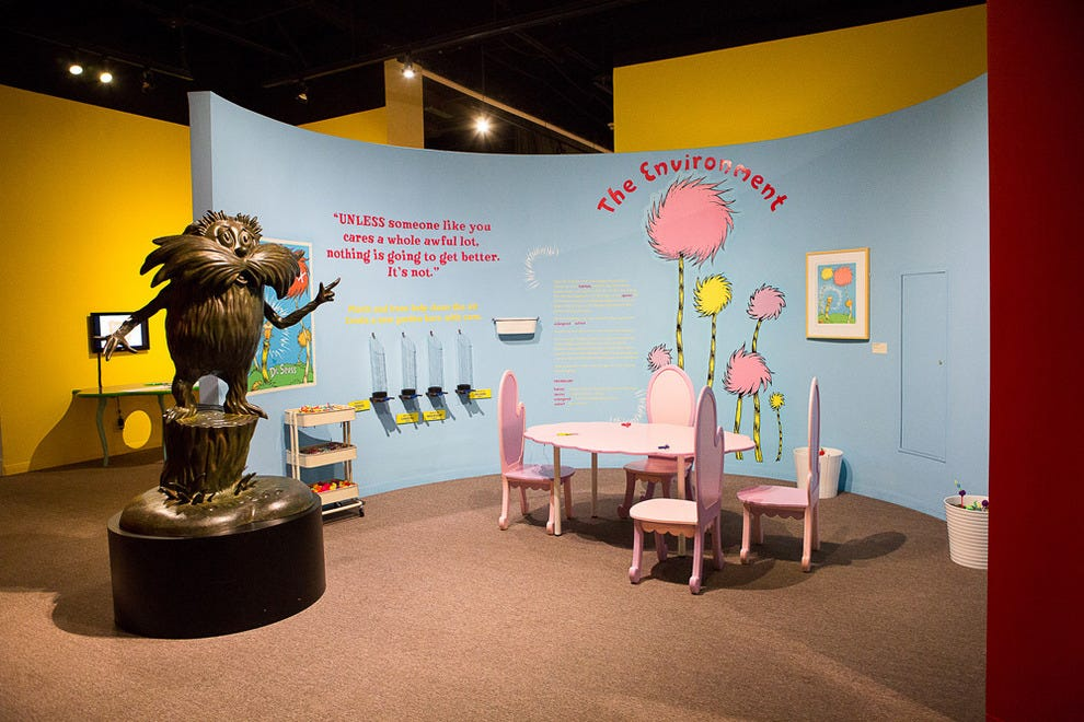 "One of the ""Ingenious! The World of Dr. Seuss"" exhibit crafting areas"