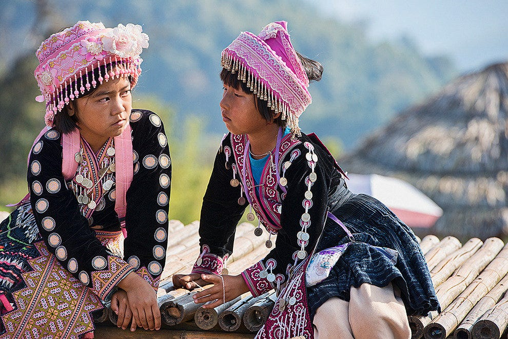 Hmong girls in native dress
