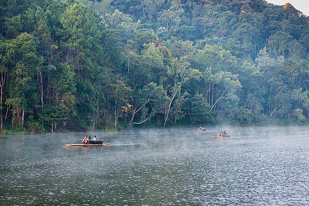 Misty morning on Pang Ung Lake