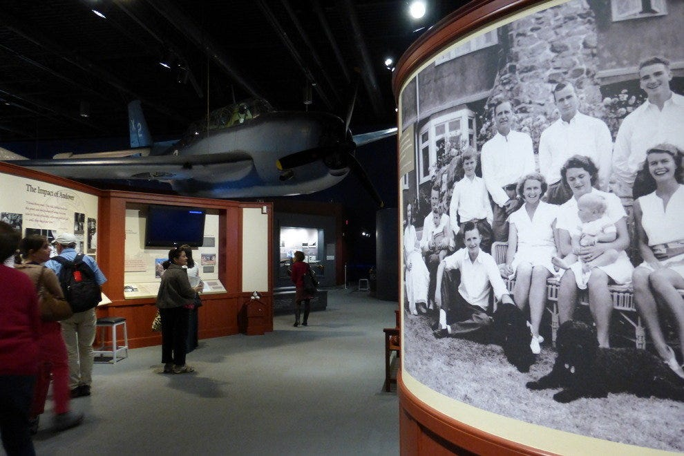 A museum exhibit area for the Bush family history