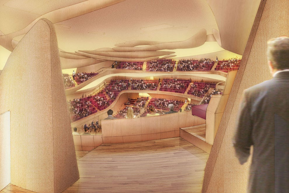 A bird's eye view of the Philharmonie de Paris concert hall, as rendered by an artist
