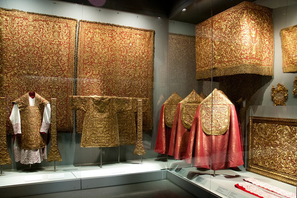 The display of the many rare and valuable vestments