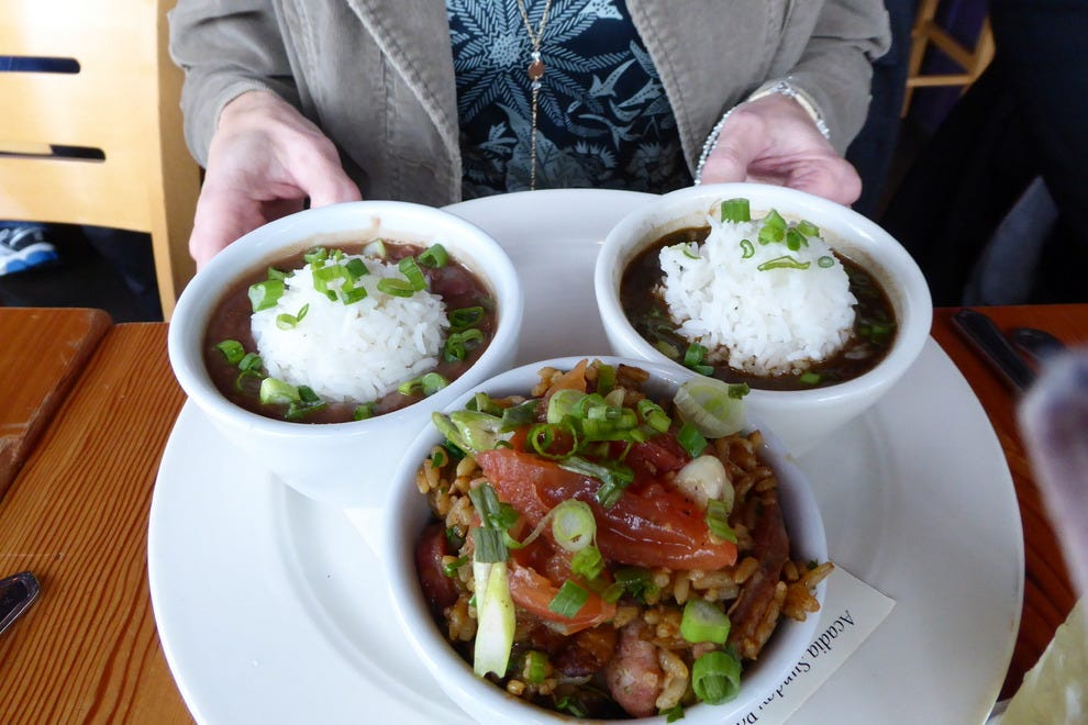 Try a sampler of red beans and rice, gumbo and jambalaya at Acadia