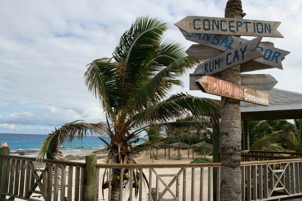 Signs throughout the Caribbean, such as this one on Long Island in the Bahamas, point you to true-true island living.