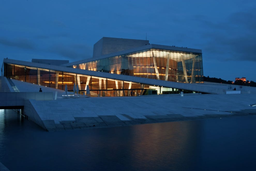 Oslo is teeming with cultural landmarks like the Opera House on the Oslo Fjord