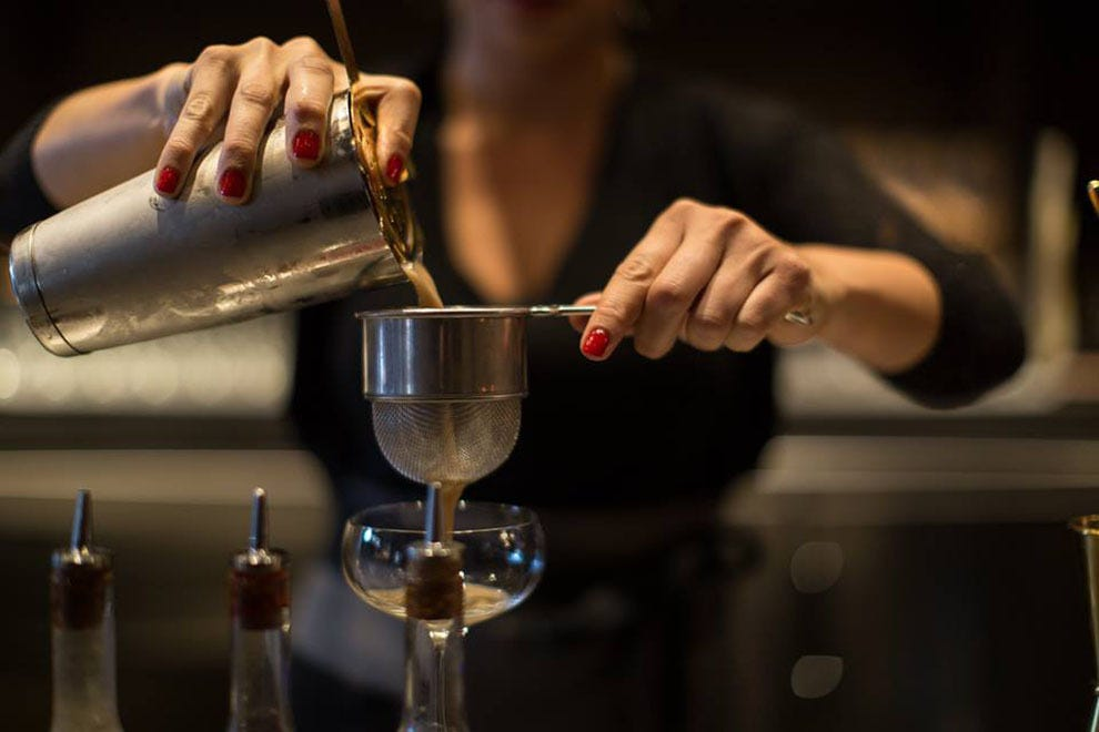 Bartender Shirley Brooks mixes it up at The European.