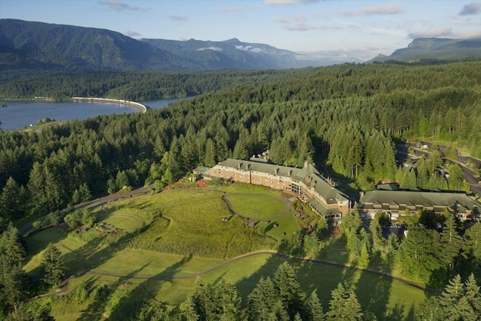 """Skamania"" is the Chinook Indian word for ""swift water""; the resort overlooks the Columbia River"