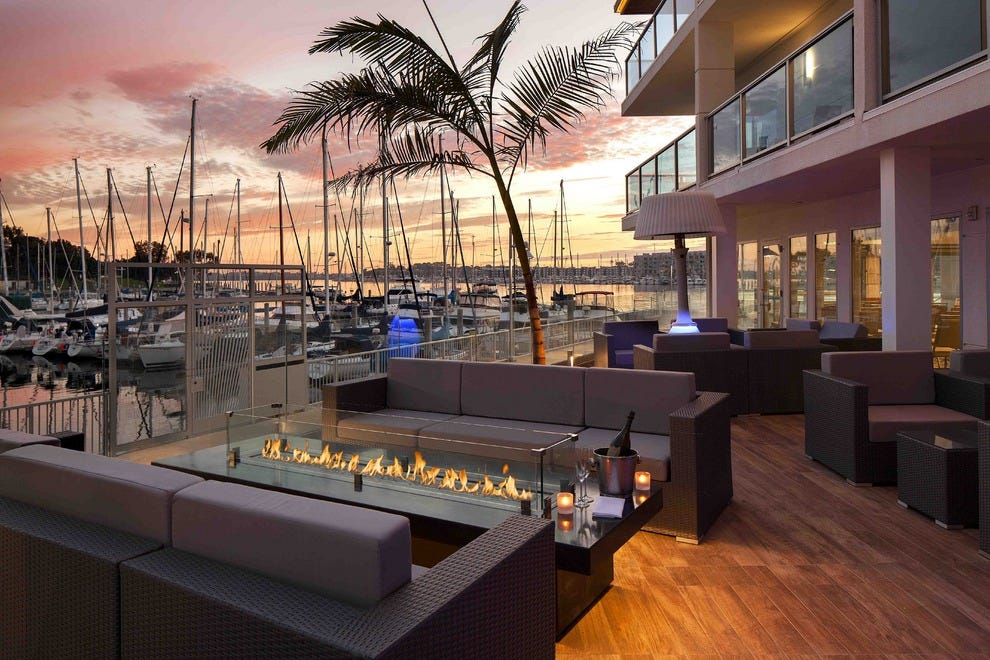 The gorgeous outside deck of SALT restaurant at Marina del Rey Hotel