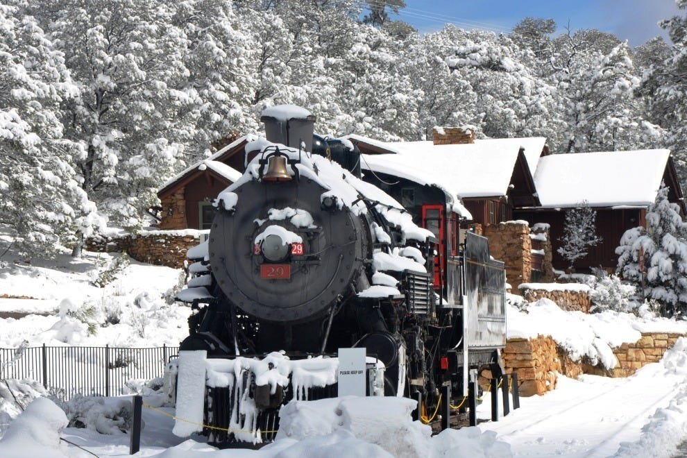 The historic depot at the Grand Canyon in snow