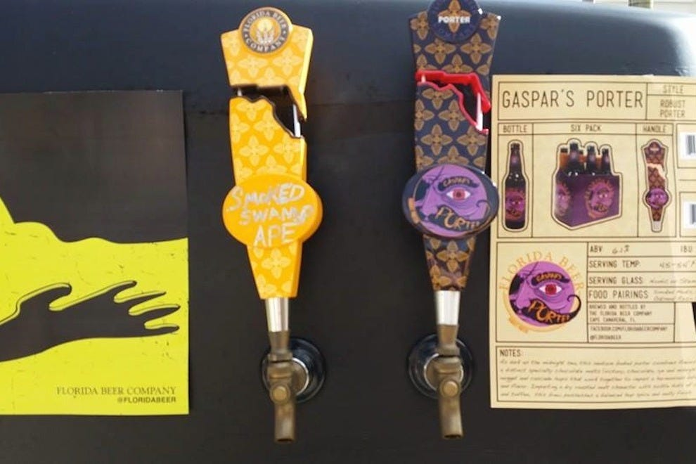 Some colorful beer taps at the Florida Beer Company