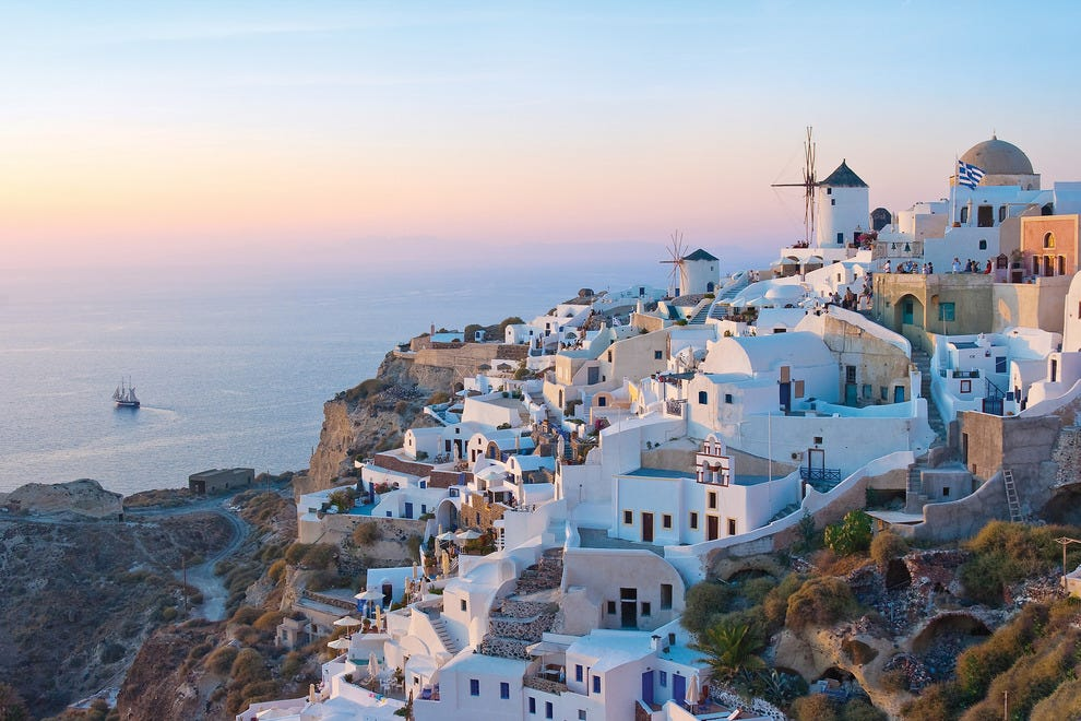 Santorini is a favorite port of call for honeymooners.