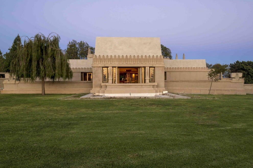 The exterior of Hollyhock House, located in the heart of Hollywood