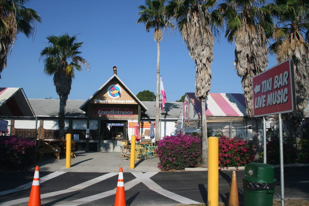The main entrance to Flamingo Island Flea Market