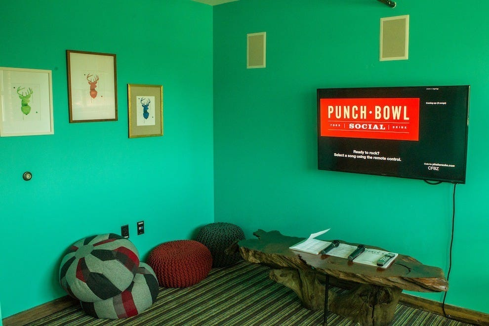 A karaoke room at Punch Bowl Social