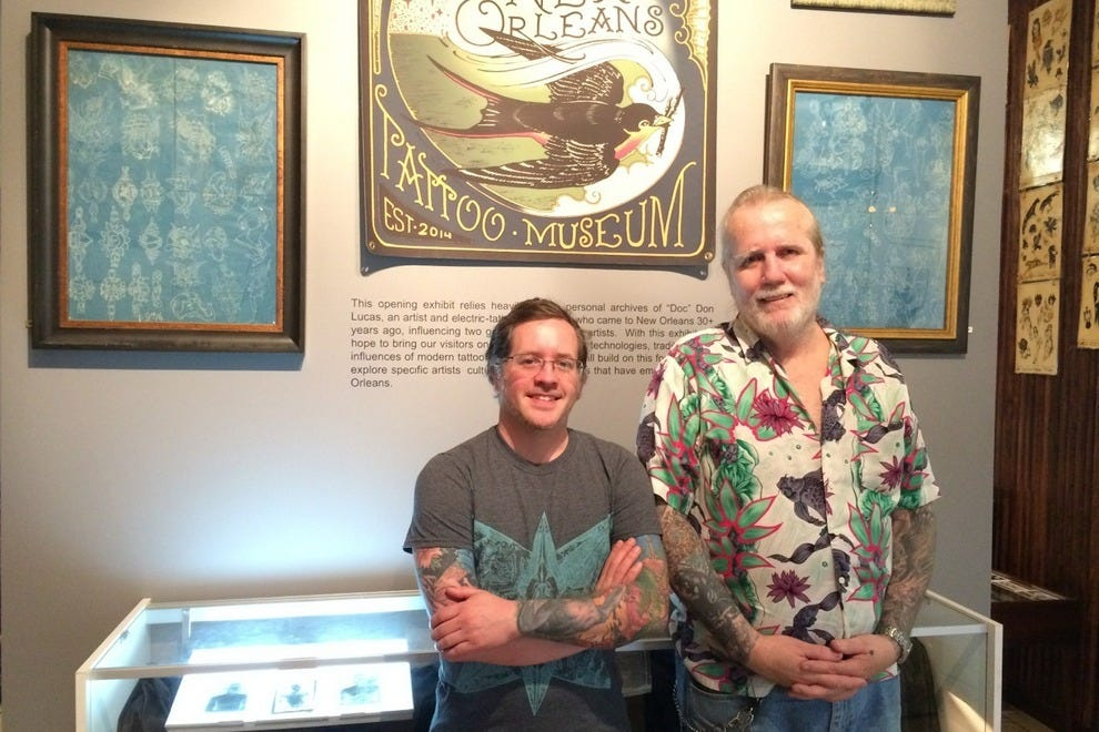 "Co-founders Adam Montegut and Don ""Doc"" Lucas at the New Orleans Tattoo Museum in Central City"