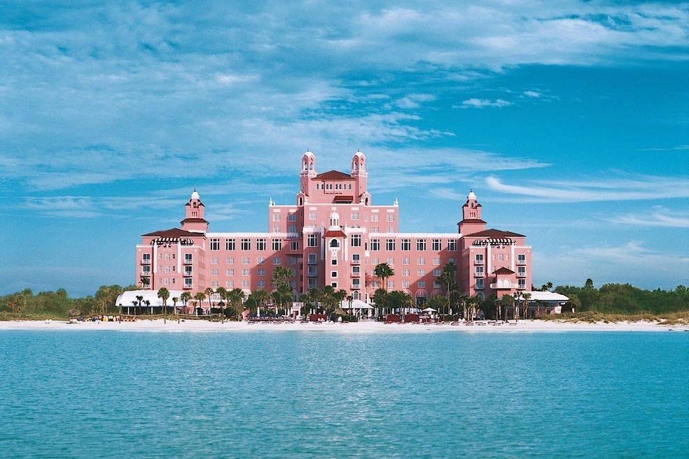 "Also known as the ""Pink Palace,"" the Loews Don CeSar Hotel is located on St. Pete Beach"