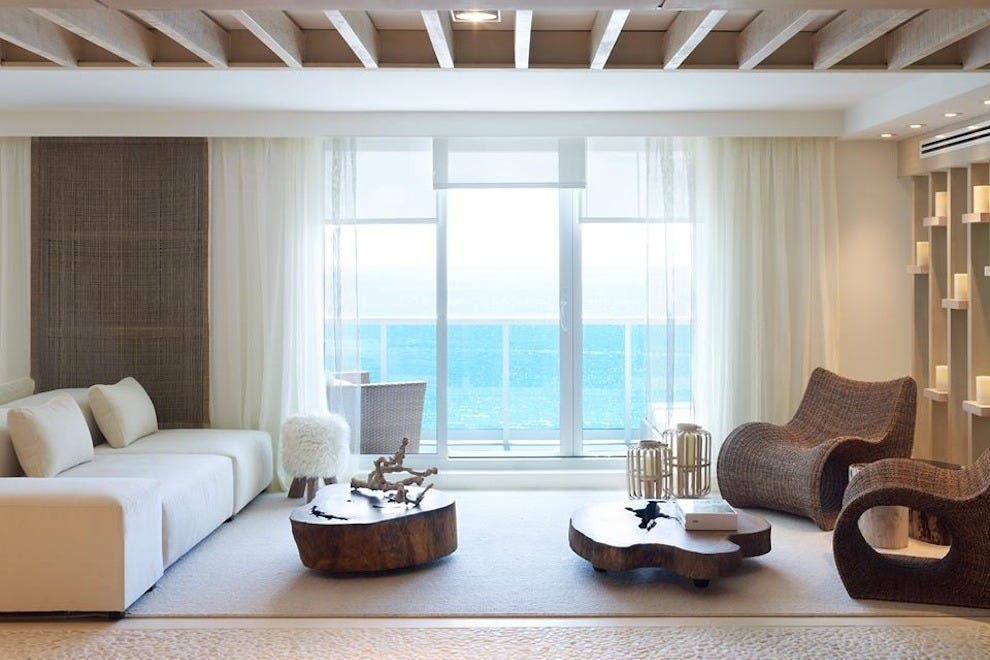 A living room in the 1 South Beach property