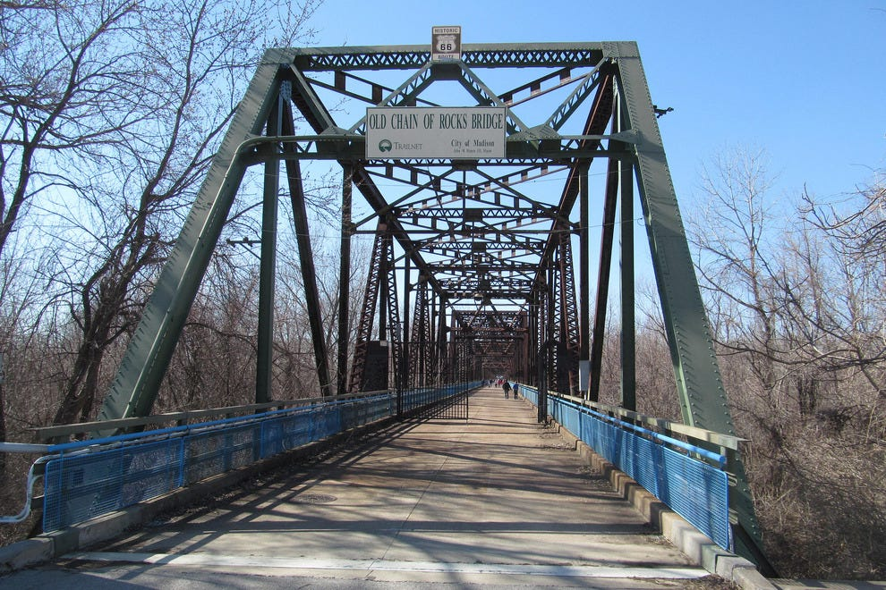 Walk across the Chain of Rocks bridge