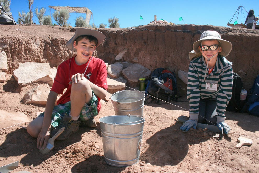 Campers at an archaeological dig site