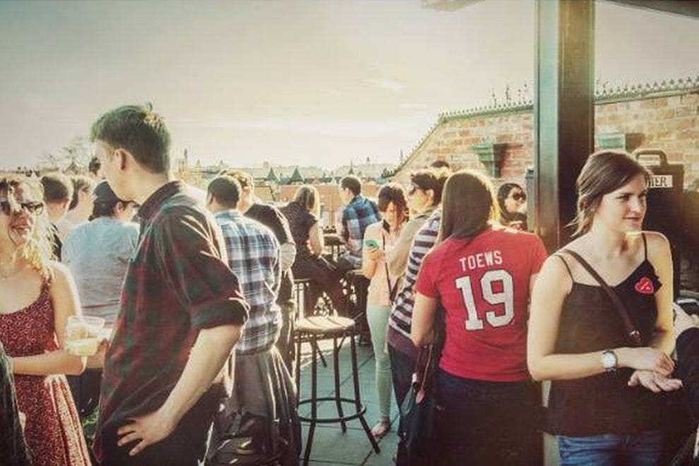 The lively rooftop bar scene at the Brixton